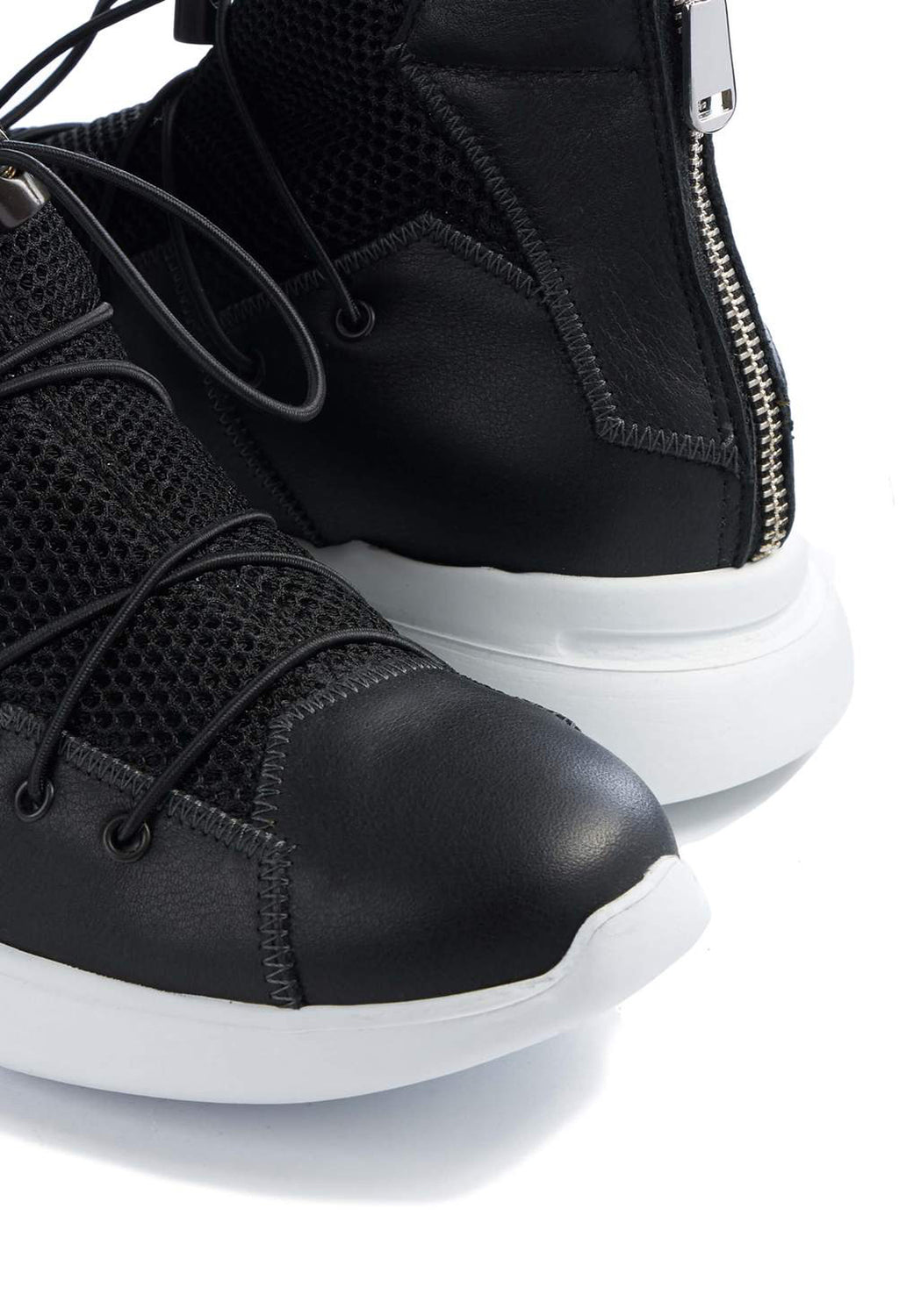 Chunky Mesh Trainers with Zip in Nero