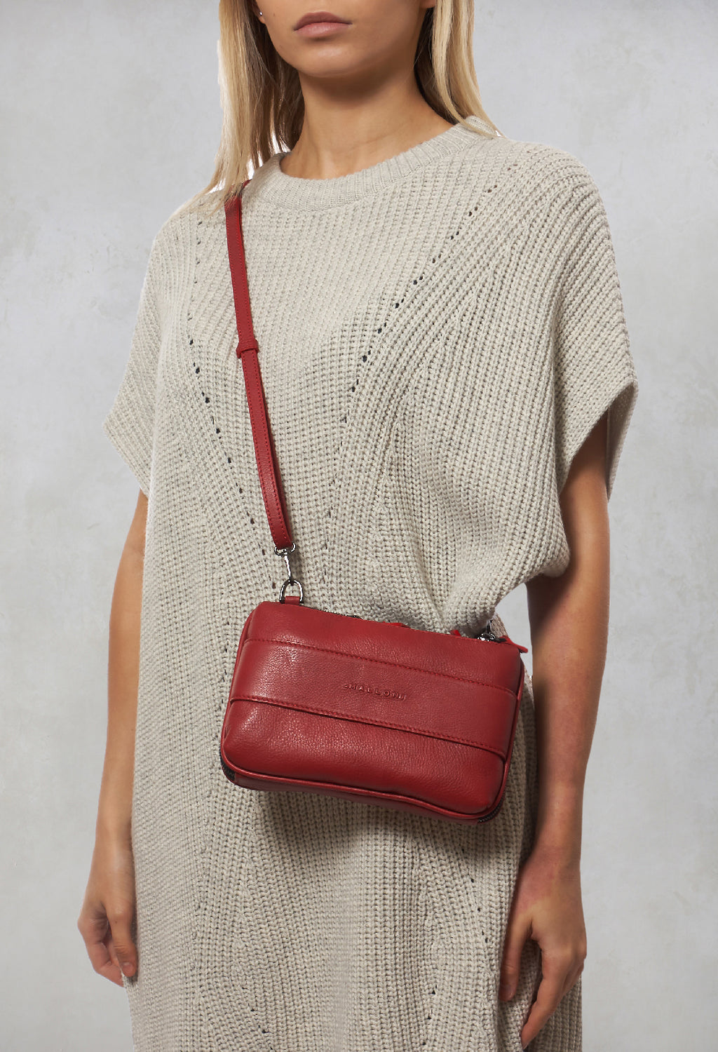Leather Clutch Bag in Cazalea Nude / Red / Tobacco