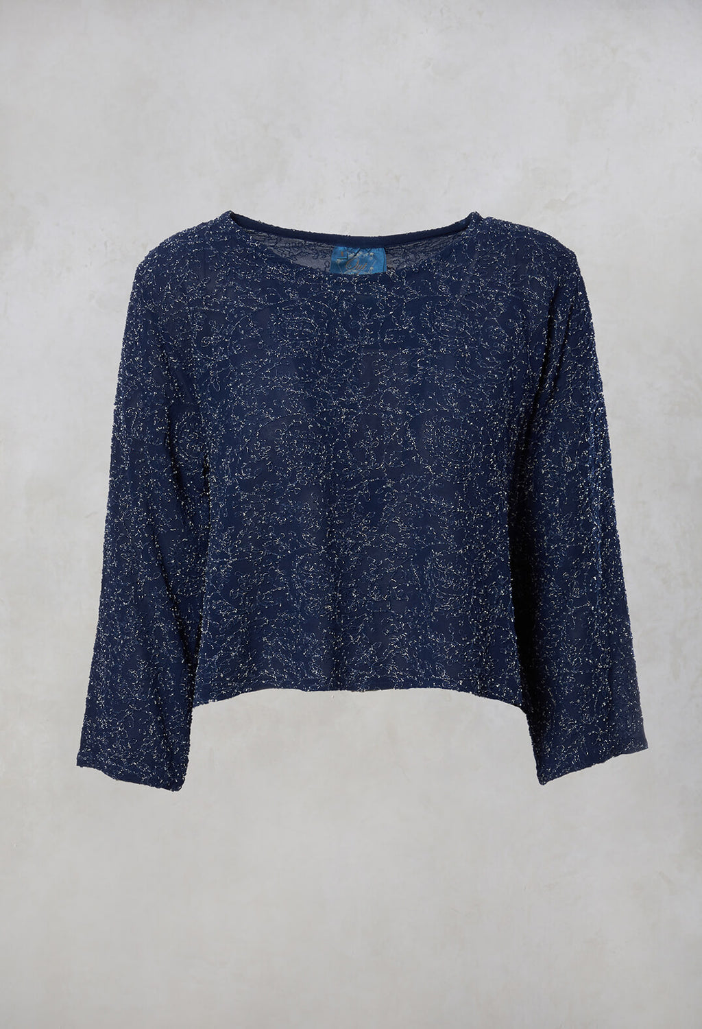 Embroidered Cropped Top in Sapphire