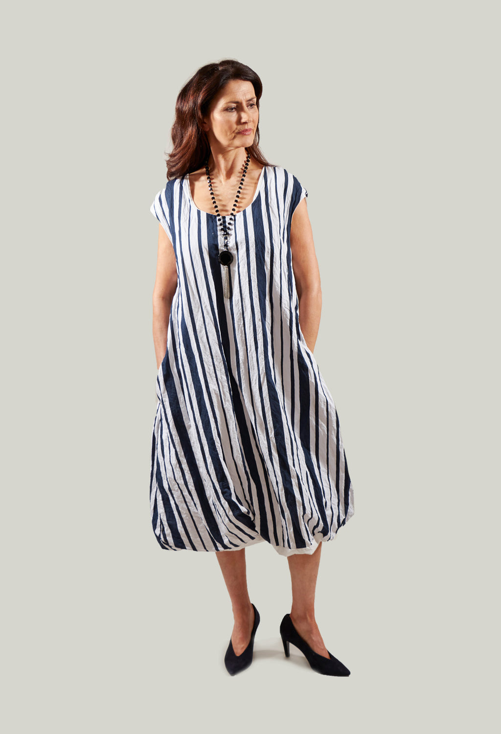 Sleeveless Striped Tulip Dress in White