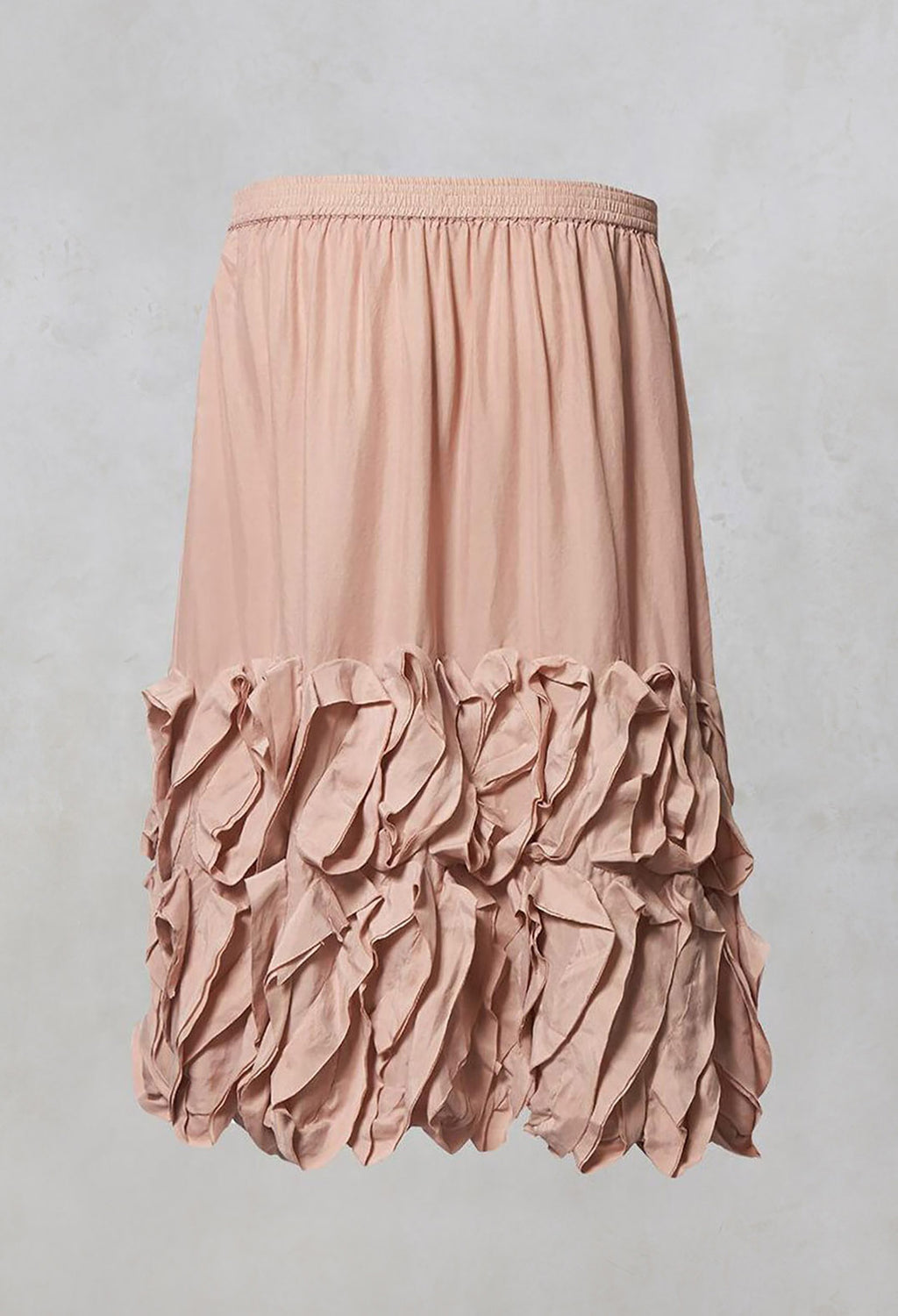 Elasticated Skirt with Ruffle Trim in Pale Pink