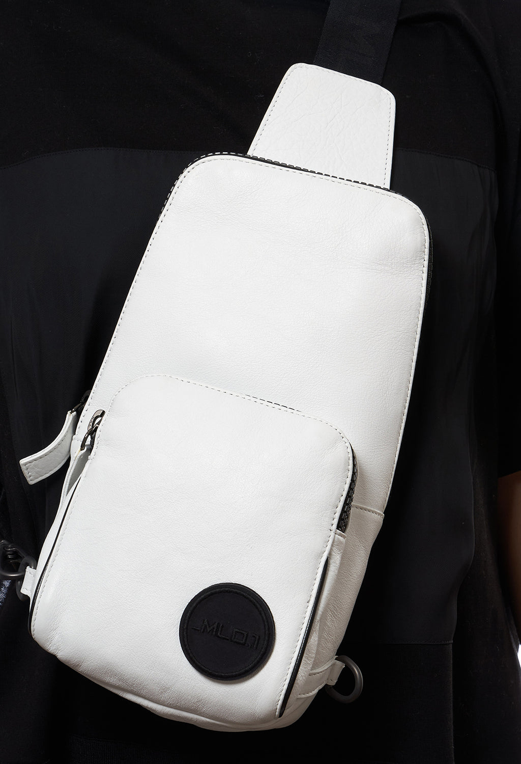 Leather Cross Body Bag in Bianco