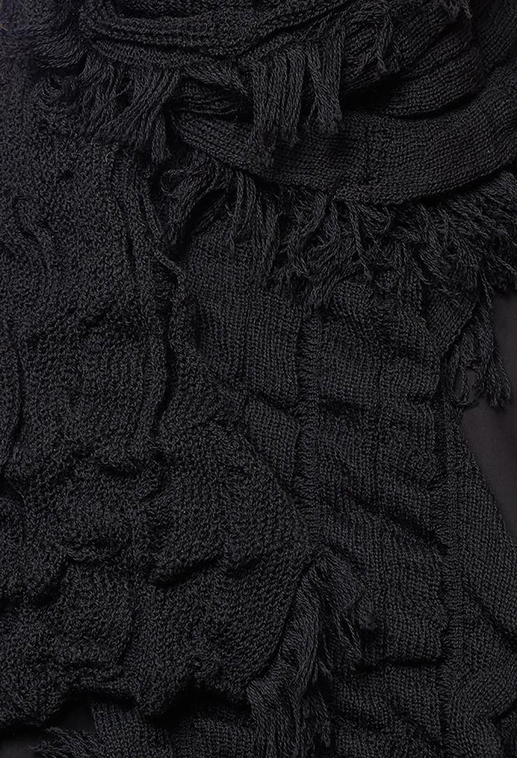 Tassel Detail Knitted Scarf in Schwarz