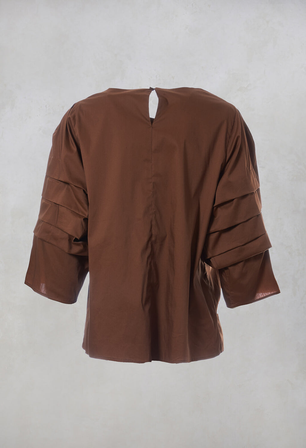 3/4 Pleated Sleeved Top in Cuoio