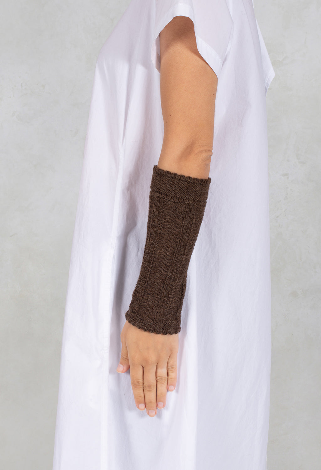 Merino Alpaca Wrist Detail in Brown