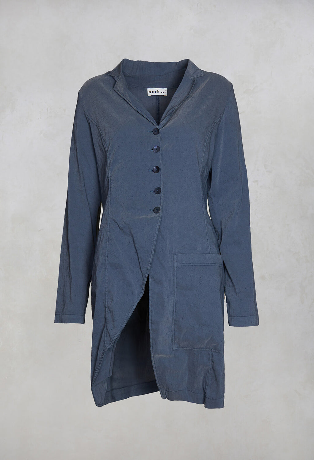 Mia Lightweight Linen Mix Coat in Eclipse