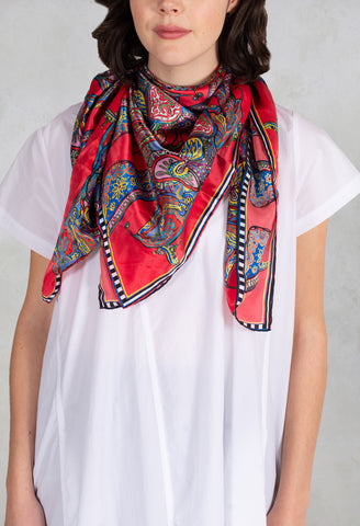 Silk Scarf in Butterflies Red