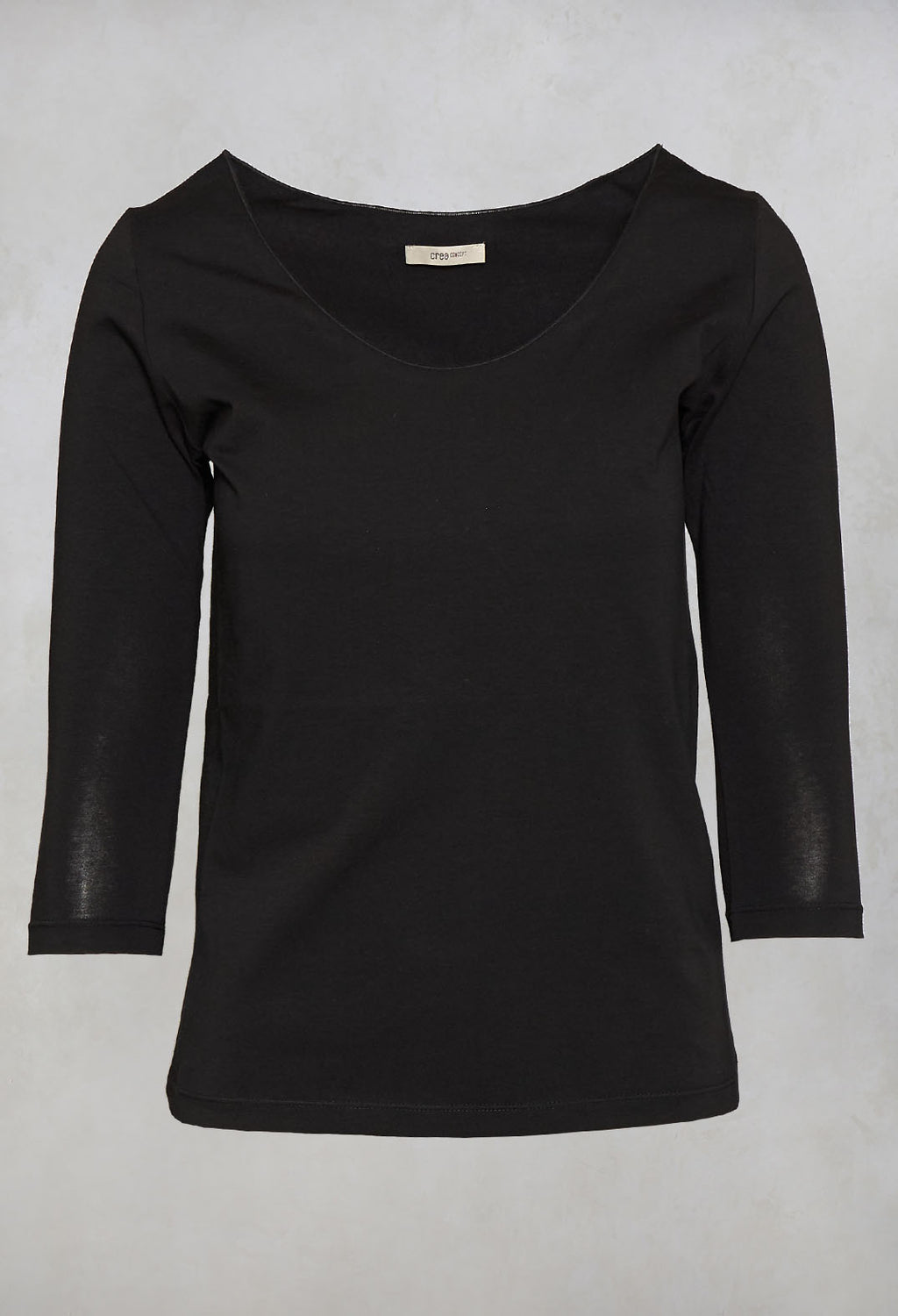 3/4 Sleeve T-Shirt in Black