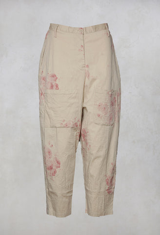 Gaston Drop Crotch Trousers in Fleurs