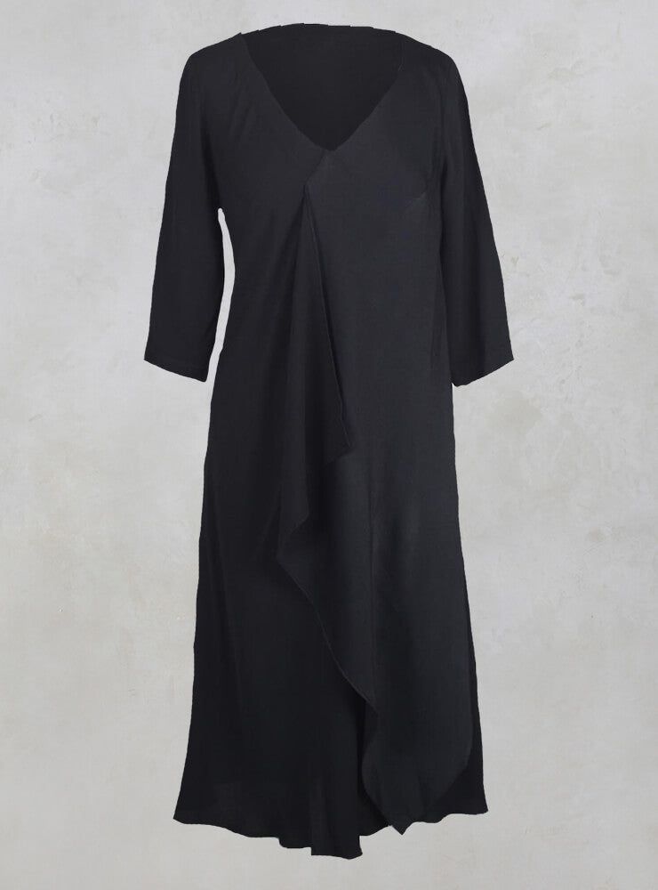 Drape Front Dress in Black
