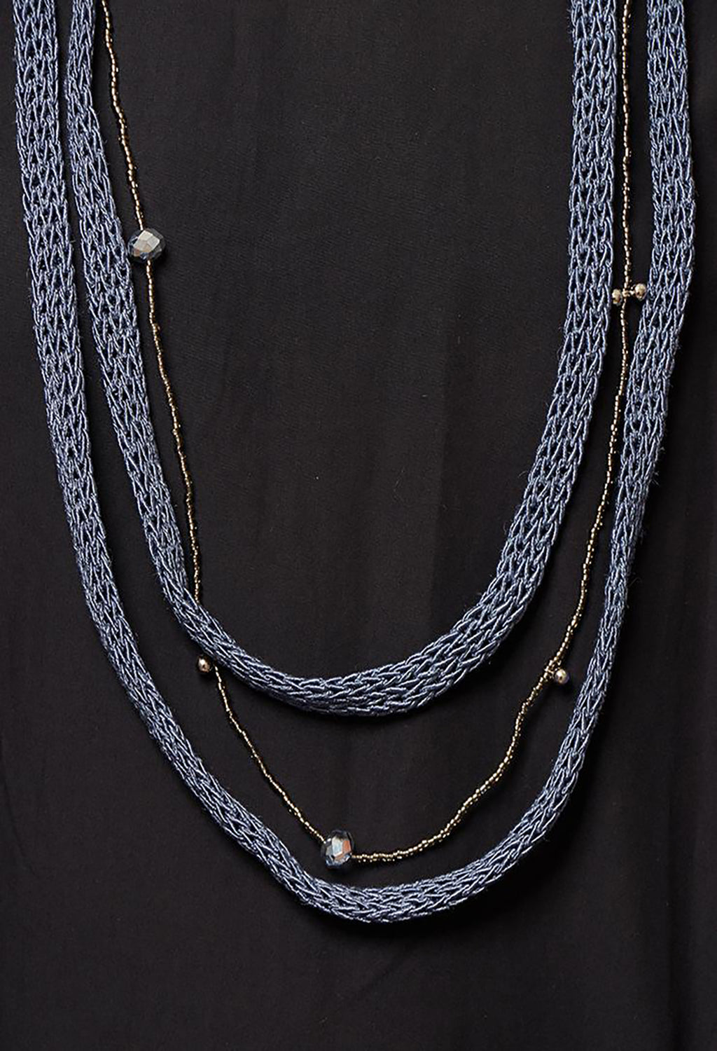 Knitted Necklace with Beads in Blue