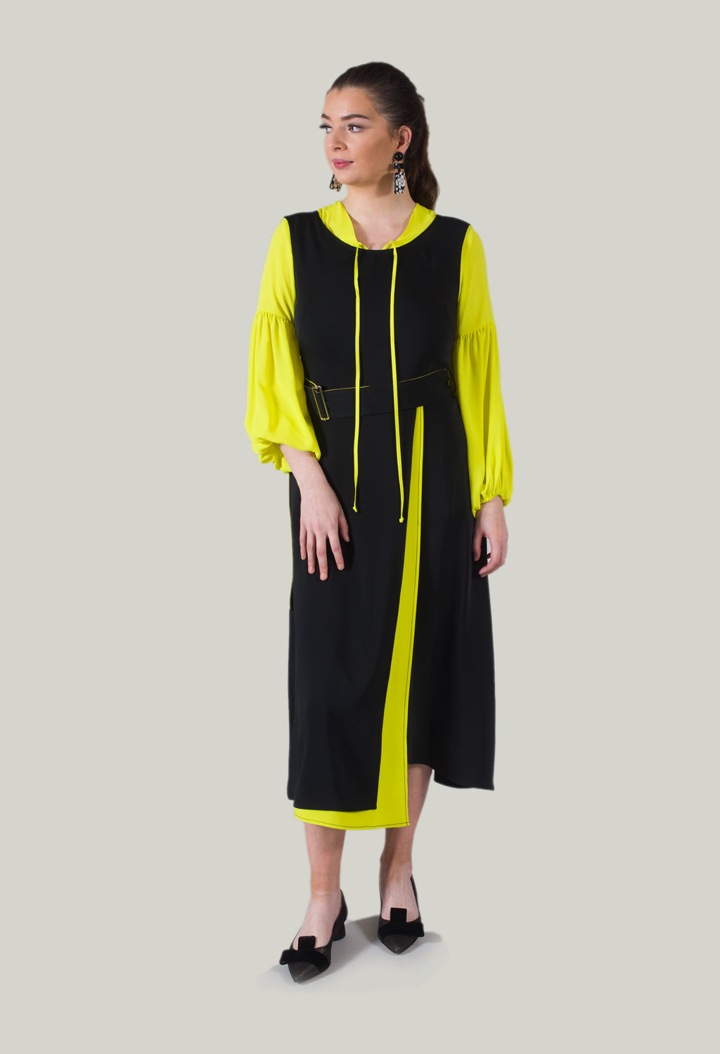 Sleeveless Dress in Yellow Fluorescent