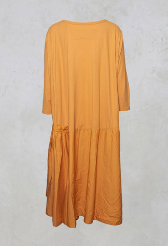 3/4 Sleeve A-Line Dress in Mango