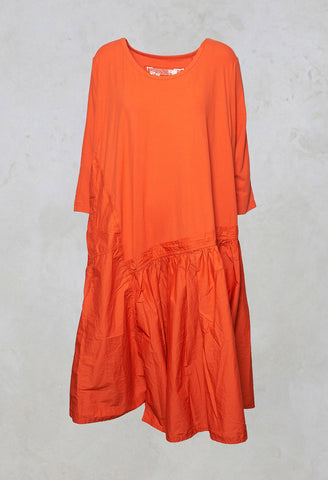 3/4 Sleeve A-Line Dress in Orange