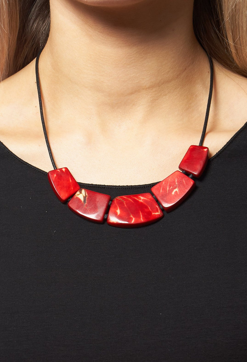 5 Bead Necklace in Red