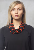 5 Stand Balls Necklace in Black / Coral