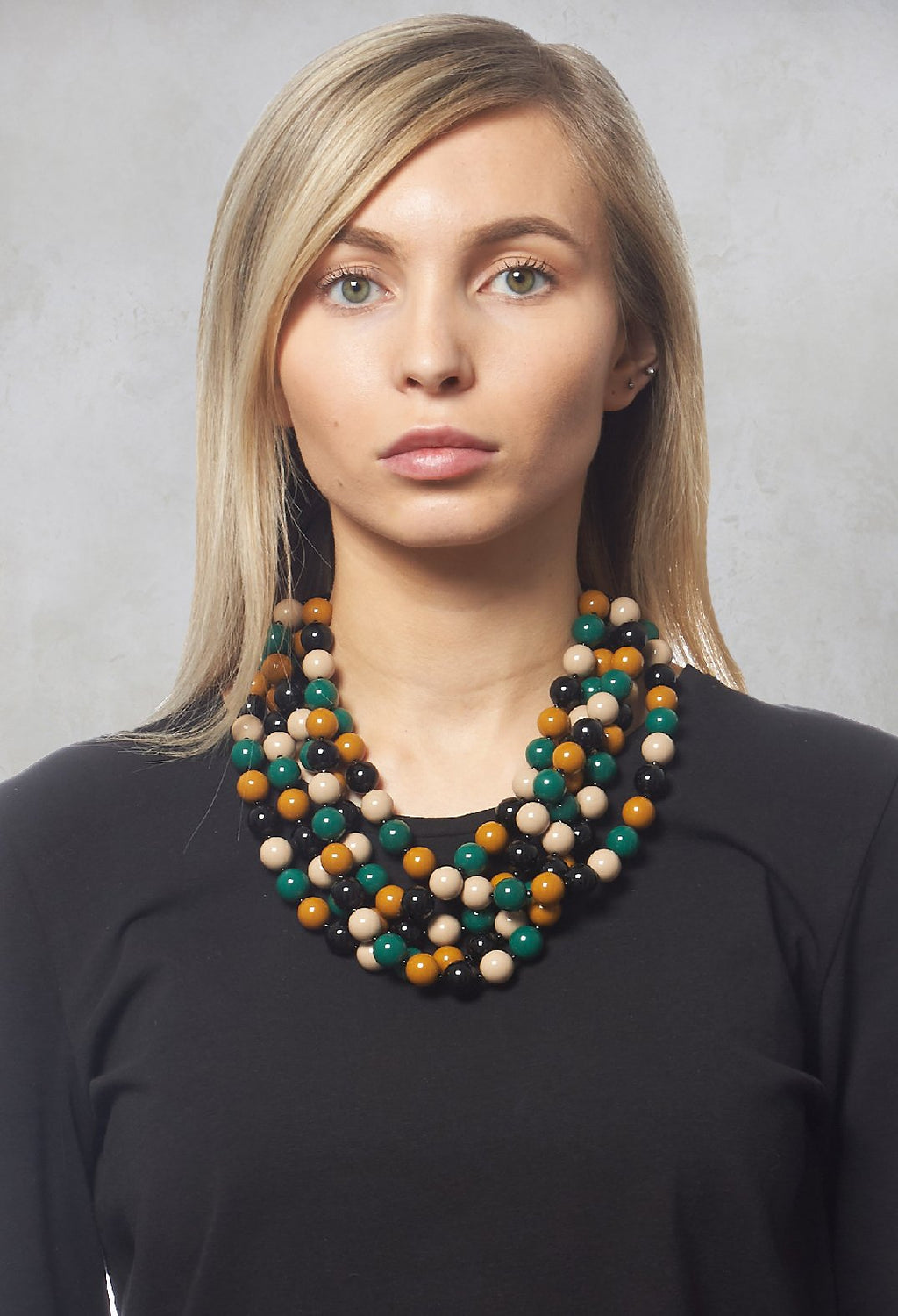 5 Stand Balls Necklace in Black / Mustard / Green / Beige