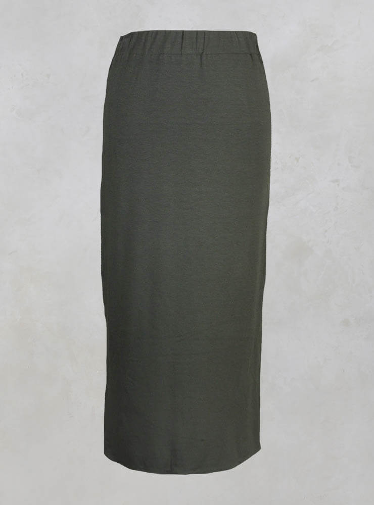 Mid Length Skirt with Elasticated Waistband in Moss Green