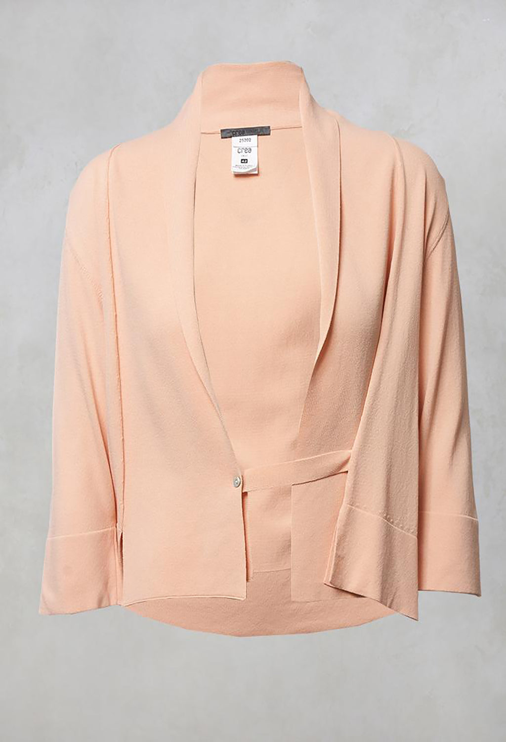 Cropped Cardigan with Button in Baby Peach
