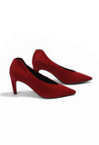 Pointed Suede Heels in Rubino