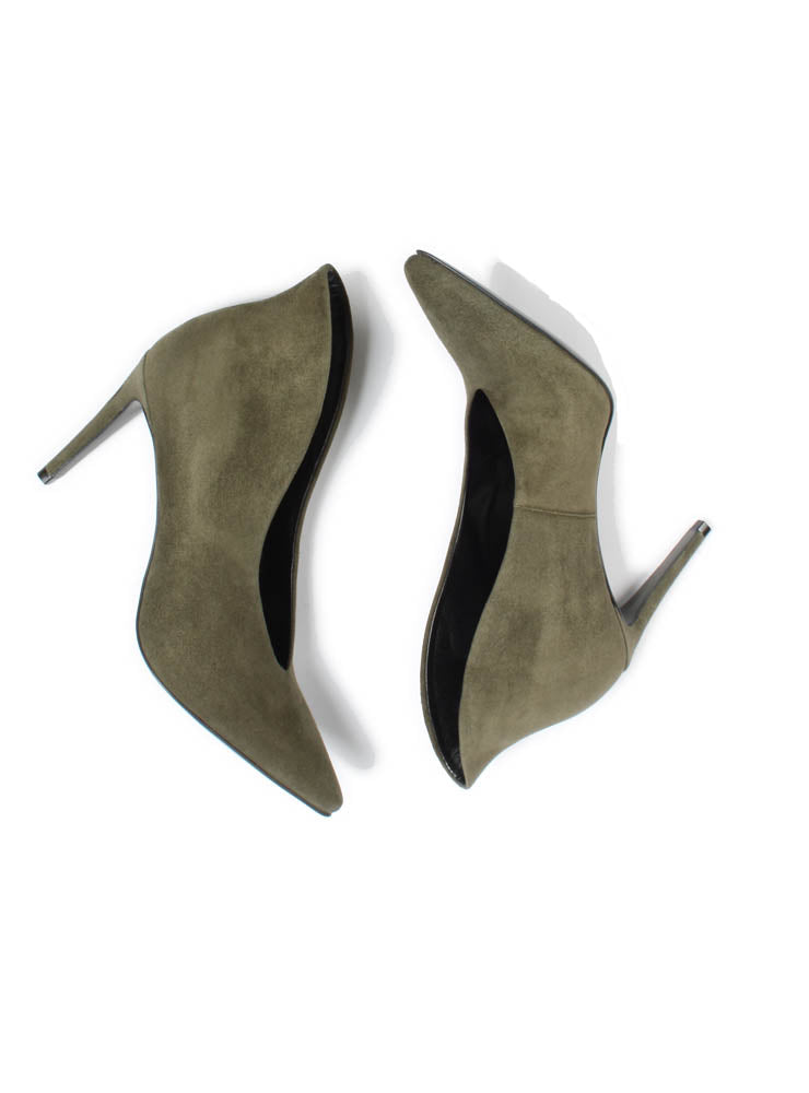 Suede Boot Style Heels in Army