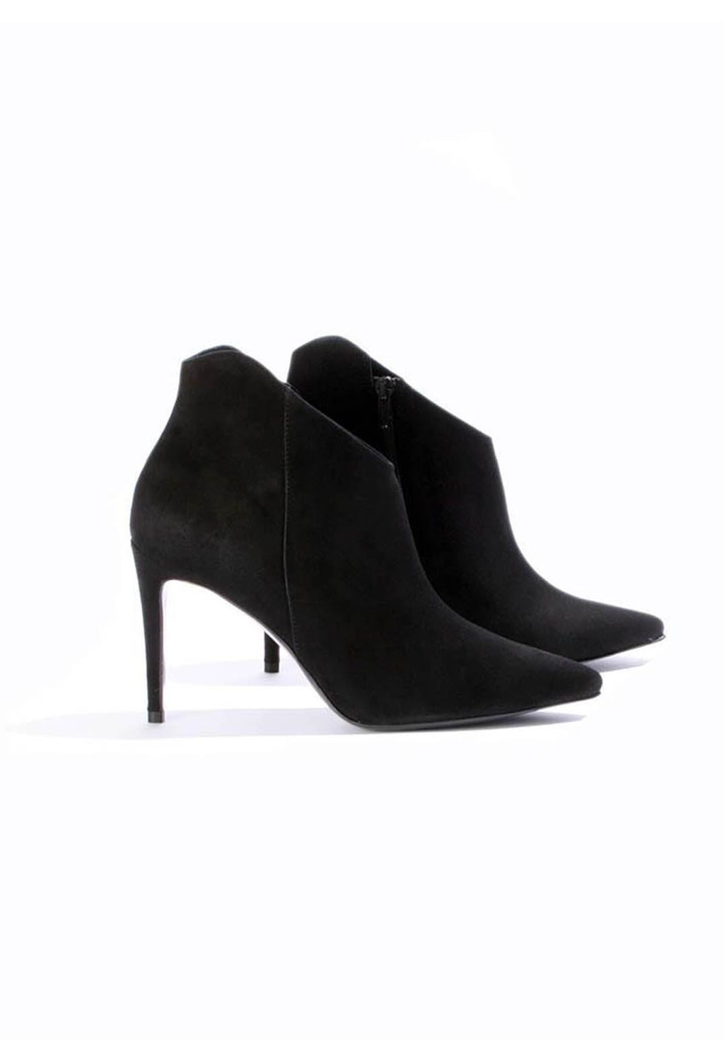 Heeled Suede Ankle Boot with Zip in Schwarz