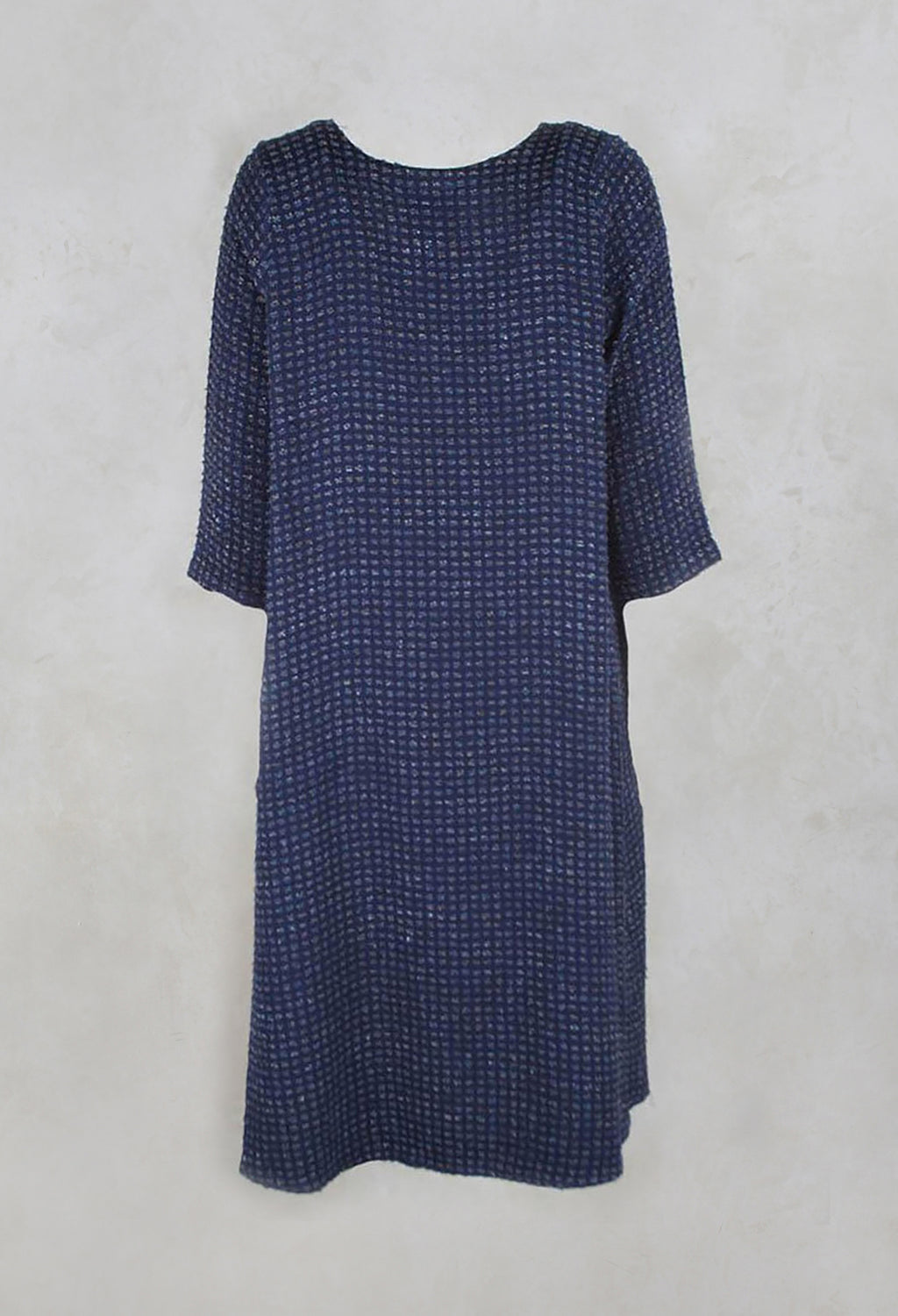 Boucle Textured Plain Dress in Deep Sea