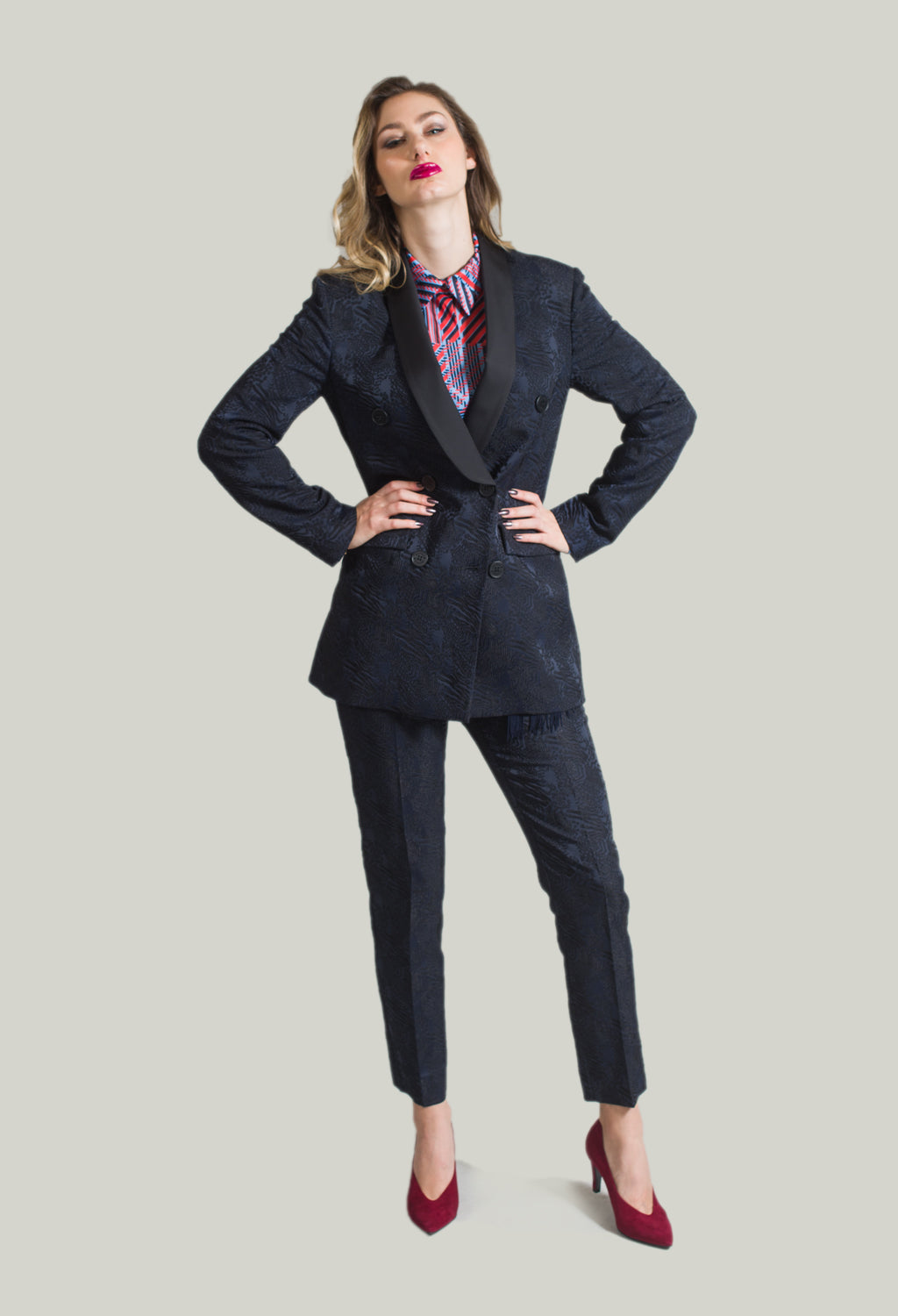 Jacquard Jacket in Navy