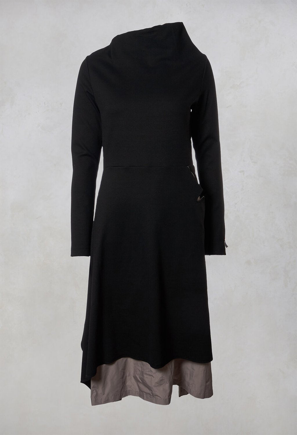 A Line Dress in Black / Beige