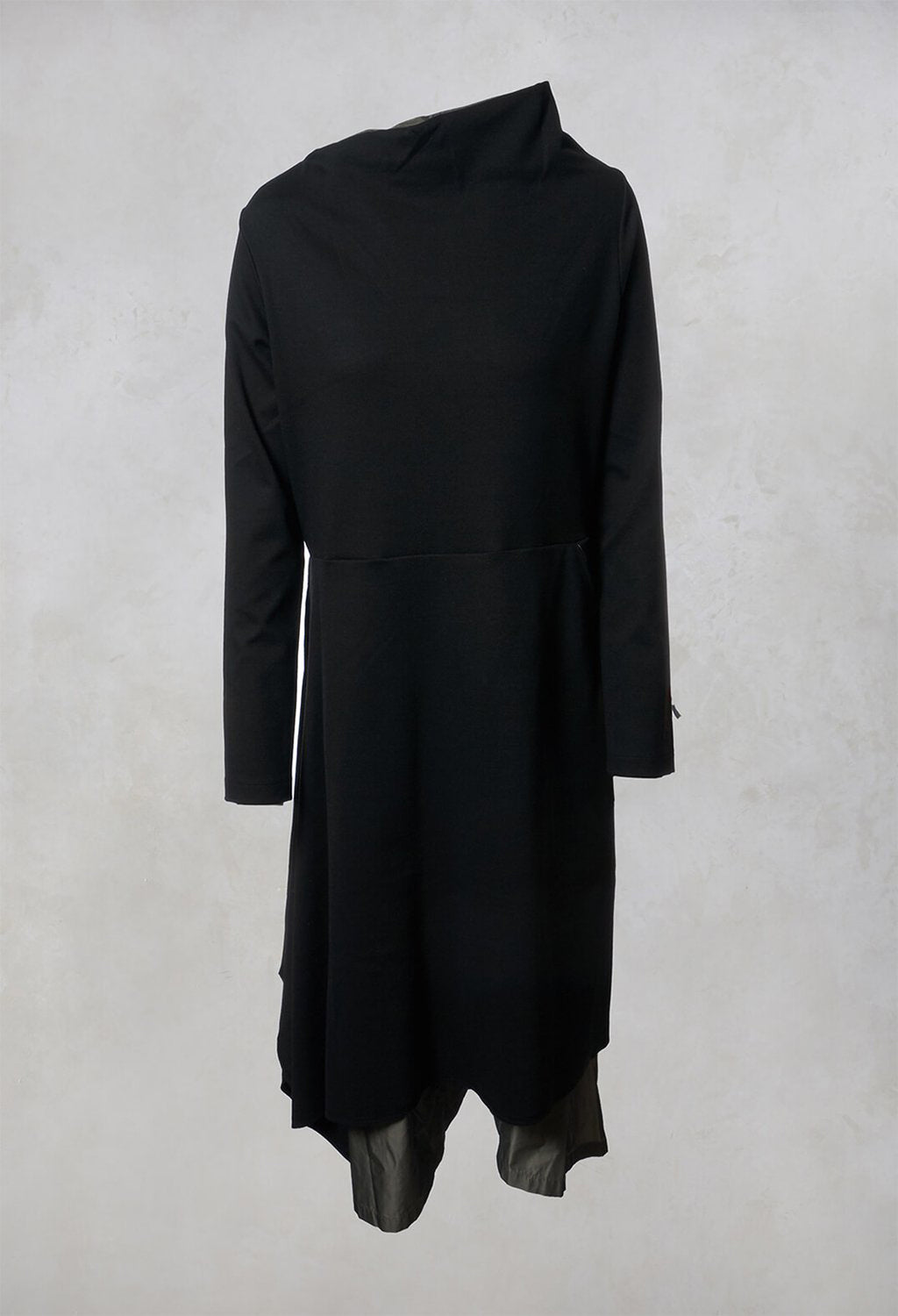 A Line Dress in Black / Olive