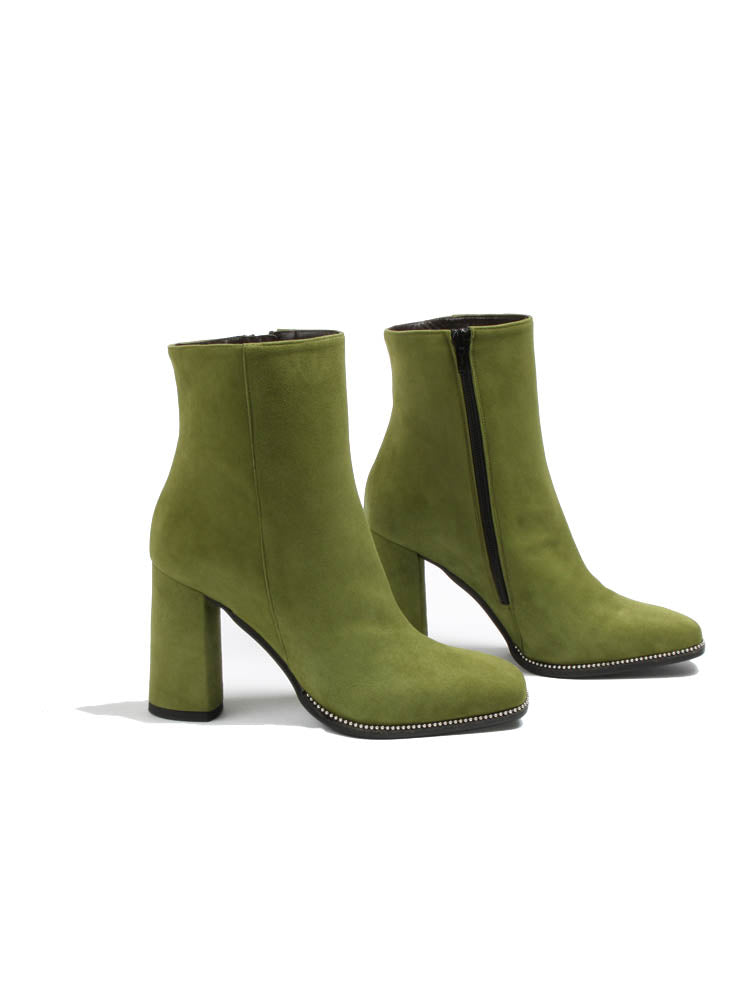 Suede Heeled Boot Style Shoe in Olivine