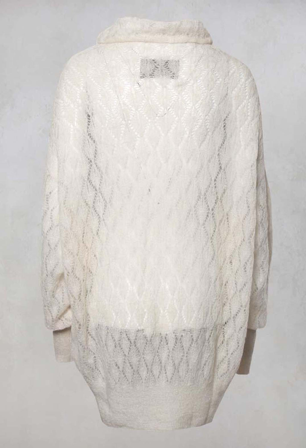 Anouk Fine Knit Roll Neck Jumper in Lainee Ecru