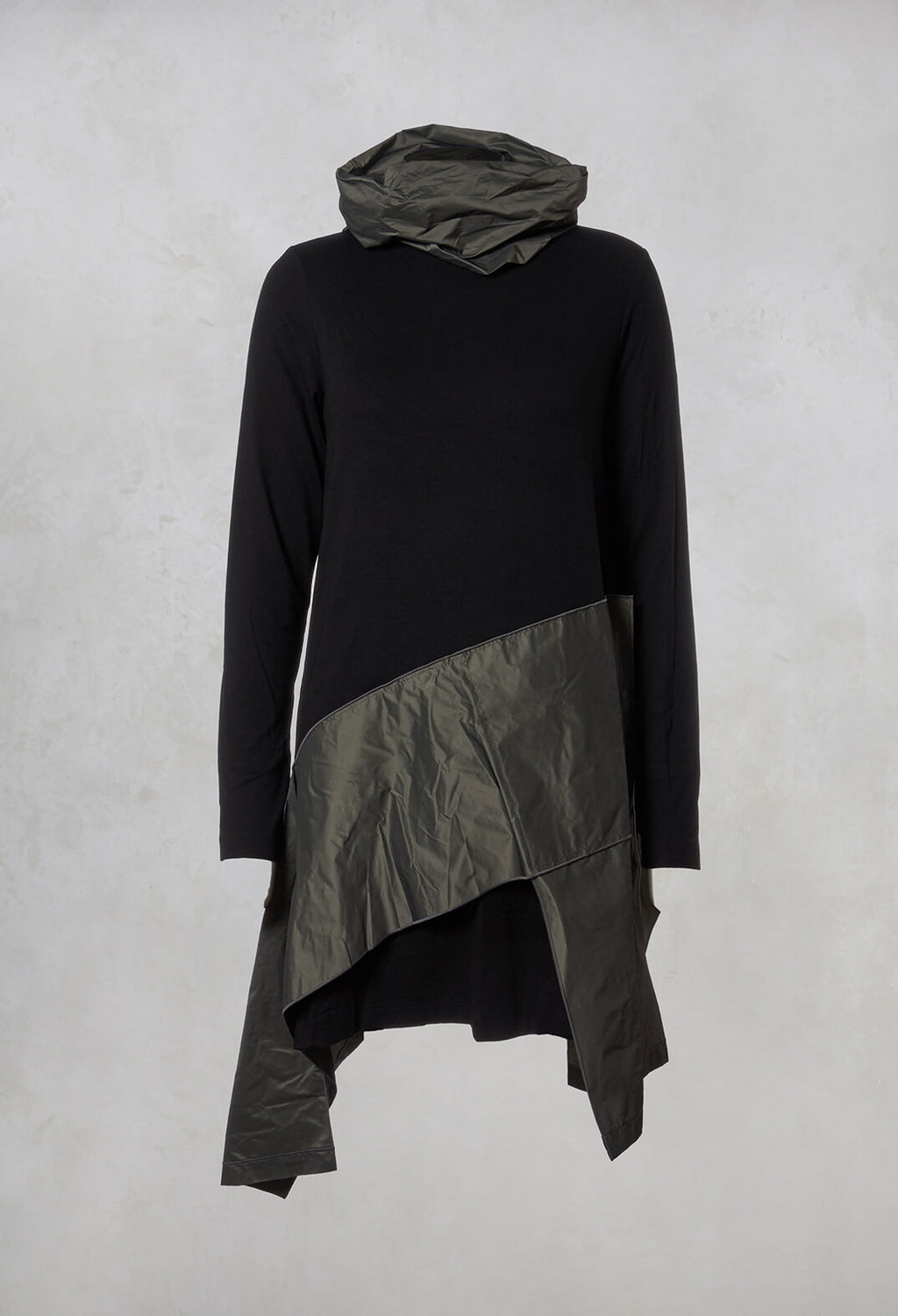 Asymmetric Tunic in Black / Olive