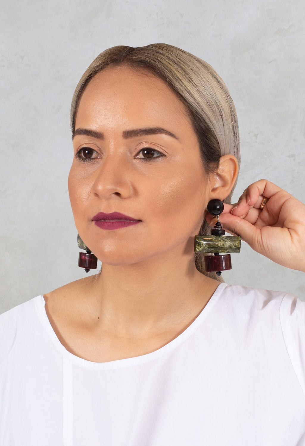 Bar and Cylinder Earrings in Red / Green / Black