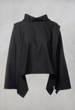 Bat Winged High Neck Top in Black