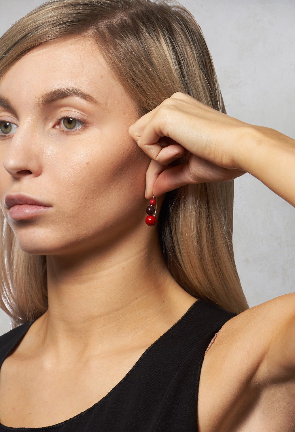 Beaded Earrings in Red