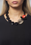 Beaded Necklace in Coral / Brown / Black