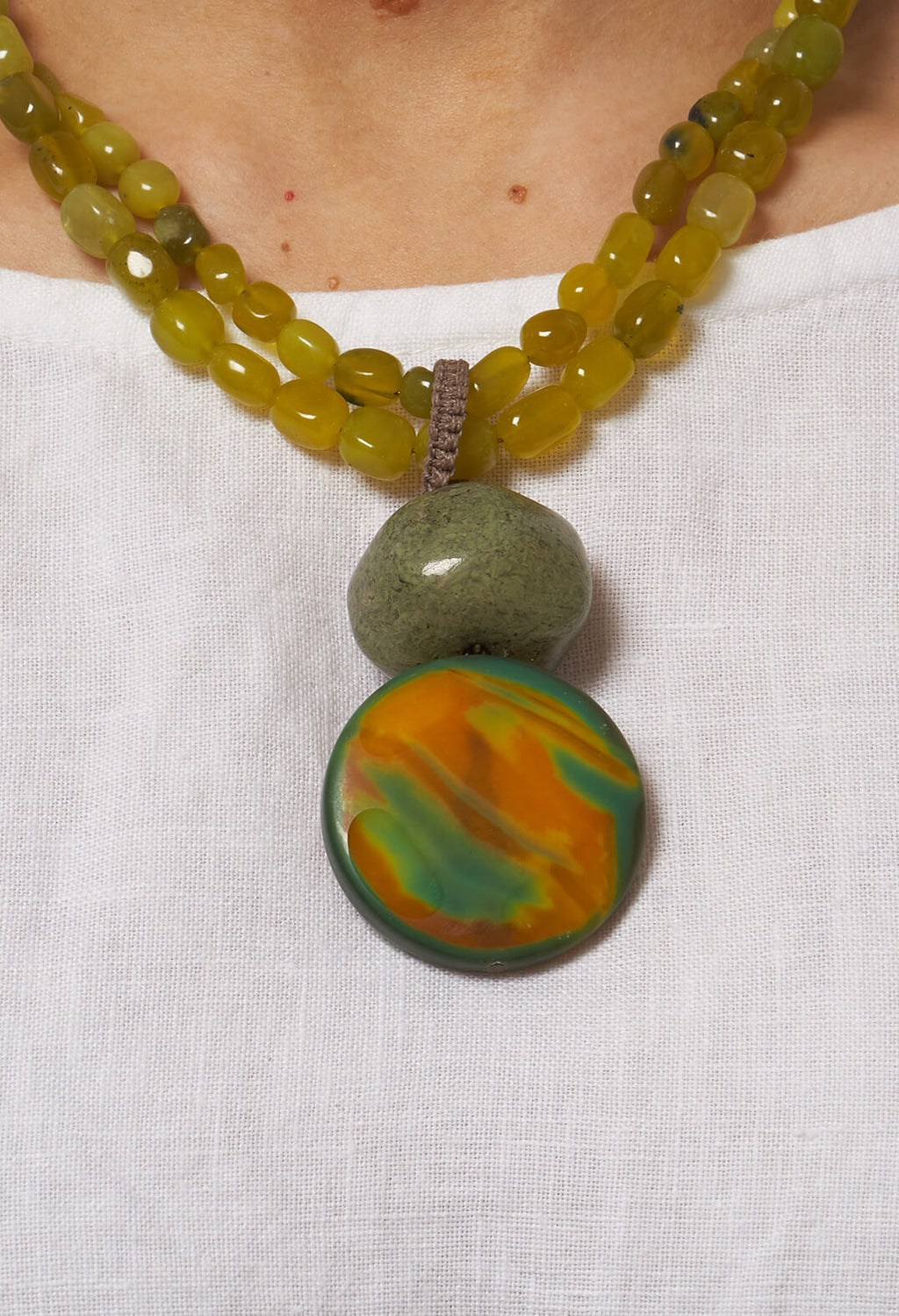 Beaded Pendant Necklace in Green