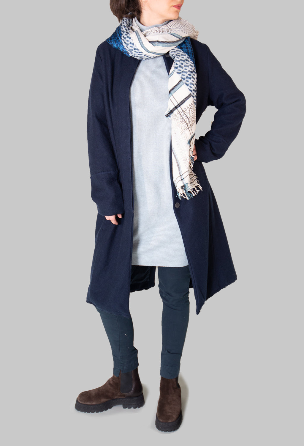 Cashmere Duster Coat in Abiss