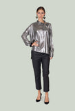 Asymmetric Blouse Clea in Silver / Khaki