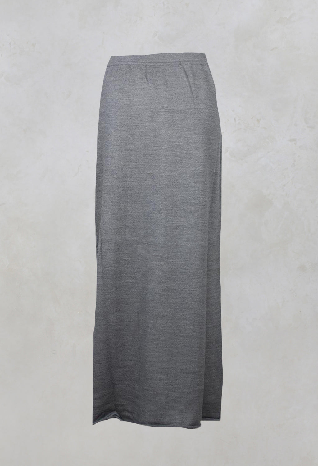 Long Fine Knit Skirt with Pocket in Grey