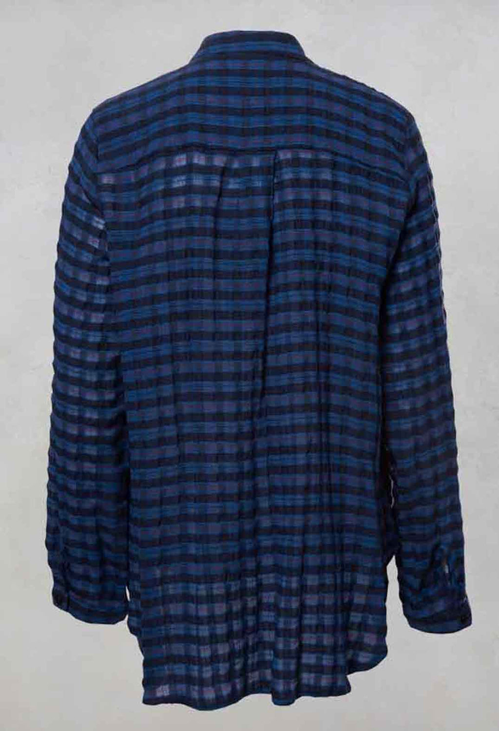 Check Shirt with Grandad Collar in Blue