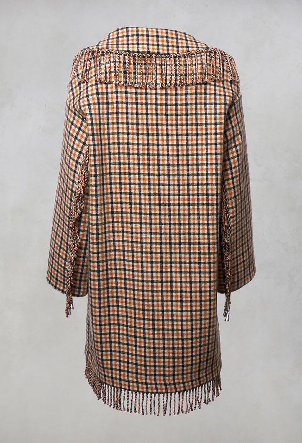 Checked Coat in Camel