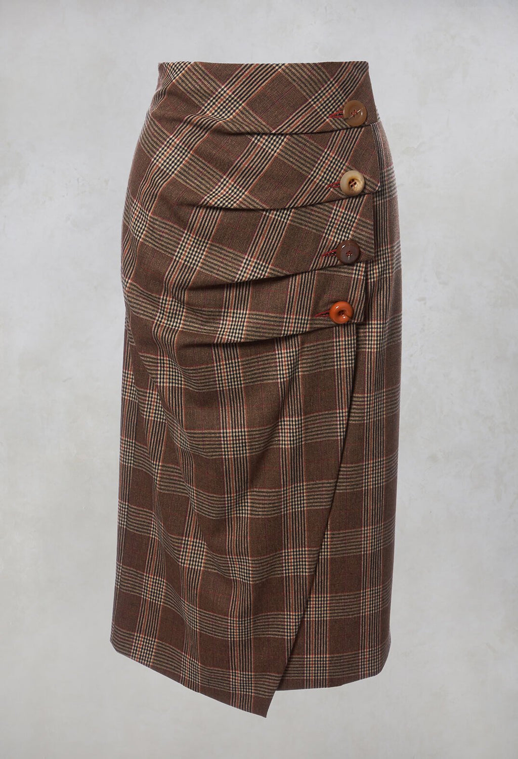 Checked Midi Skirt in Galles Marrone
