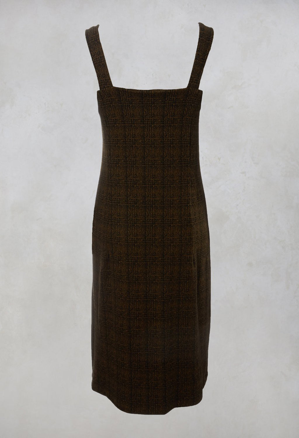 Checked Pinafore Dress in Gold