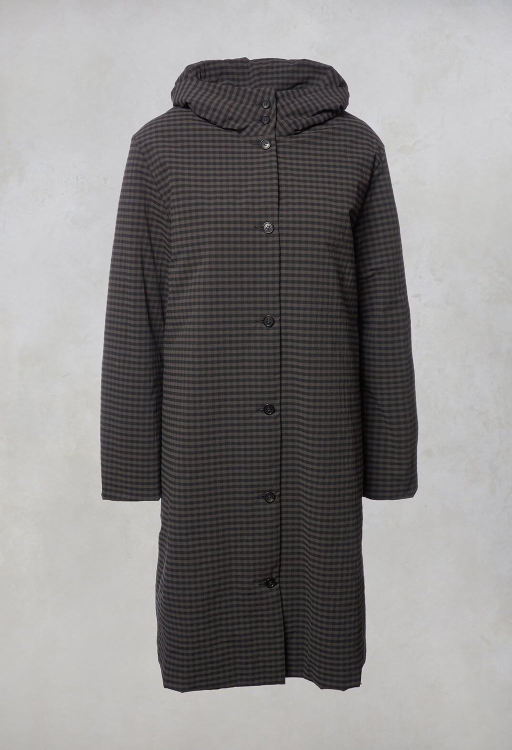 Checked Puffer Coat in Grey Anthracite