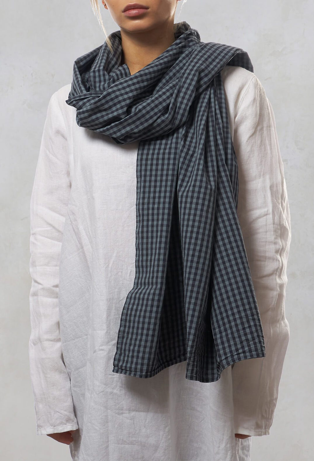 Checked Scarf in Wind