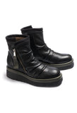 Chunky Leather Ankle Boots in Black / Military
