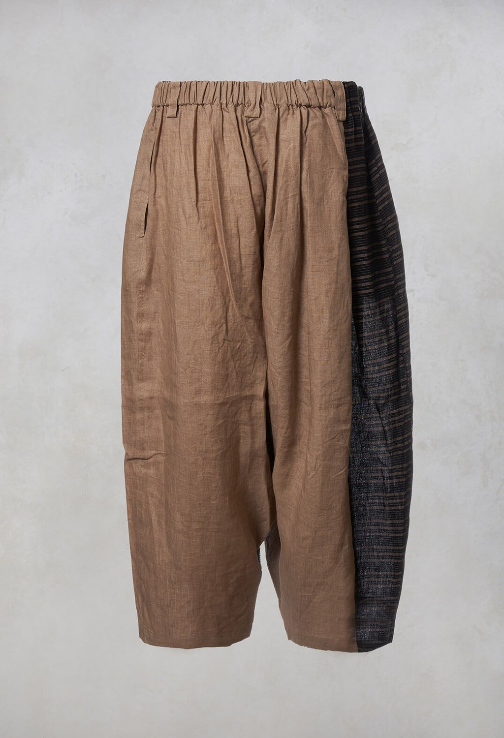 Contrast Drop Crotch Trousers in Beige