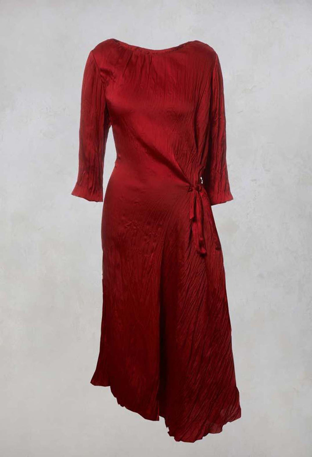 Crinkled Wrap Dress in Red